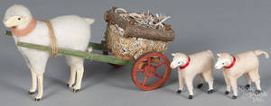 Contemporary stick leg sheep pull toy