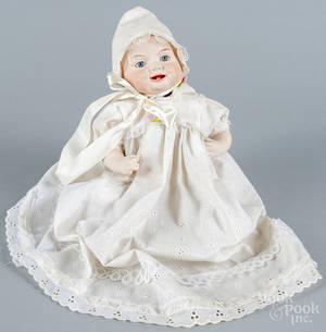 Contemporary bisque byelo baby doll with paperweight eyes