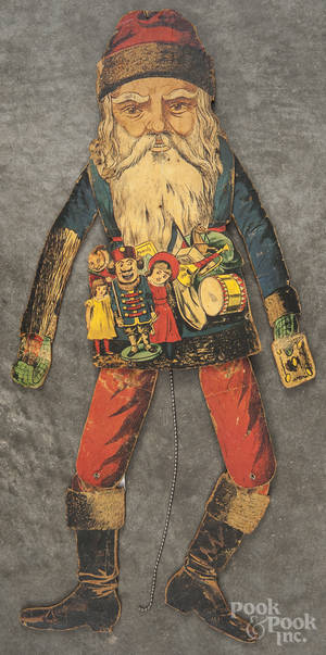 Paper litho over wood Santa Claus jumping jack toy