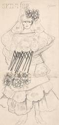Natalia Sergeevna Goncharova Russian 18811962 Costume Design for a Spanish Dancer with a Large Flowered Mantilla and Floral Dress
