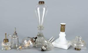 Two Sandwich glass fluid lamps
