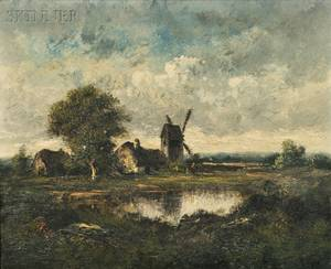 LeonVictor Dupr French 18161879 Landscape with Windmill