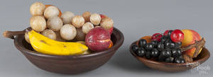 Two turned wood bowls