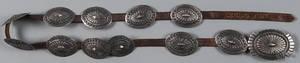 Native American silver concho belt 20th c