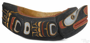 Large Northwest Coast carved and painted feast bowl 20th c