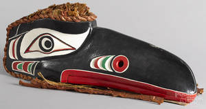 Northwest Coast carved and painted eagle mask 20th c