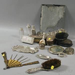 Large Group of Sterling Silvermounted Dresser Items