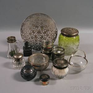 Assorted Group of Sterling Silvermounted Colorless Glass Tableware