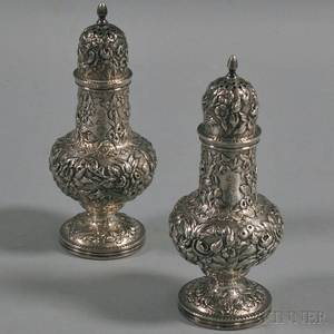 Pair of S Kirk  Son Sterling Silver Shakers