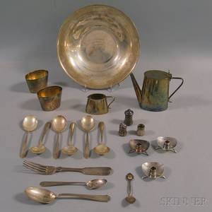 Small Group of Sterling Silver and Silverplated Tableware and Flatware