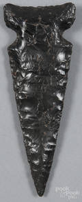 Native American obsidian notched knife