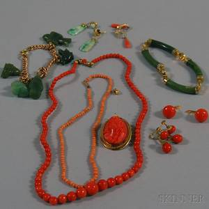 Small Group of Coral and Jade Jewelry