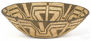 Southwest Native American coiled basketry bowl early 20th c