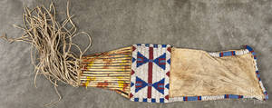 Plains Native American beaded hide tobacco bag ca 1900
