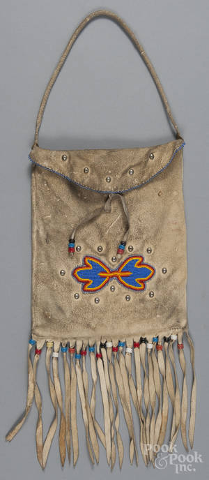 Native American Indian beaded hide pouch 20th c