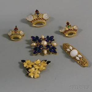 Six Miriam Haskell and Trifari Costume Brooches