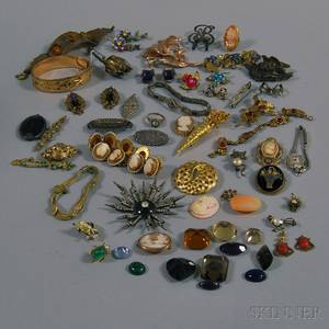 Group of Victorian and Vintage Jewelry and Unmounted Stones