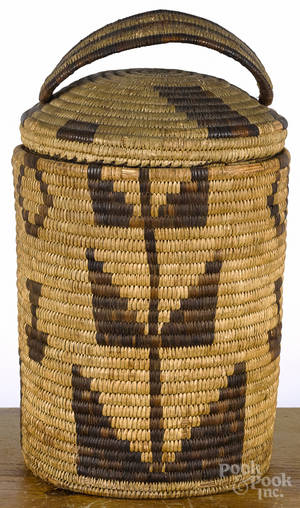 Large Native American Indian basketry lidded storage jar early 20th c