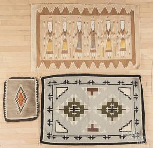 Three Native American Indian weavings 20th c