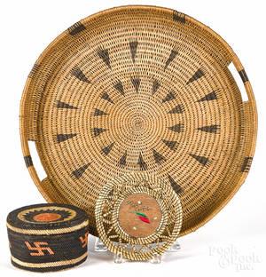 Three Native American Indian baskets 20th c
