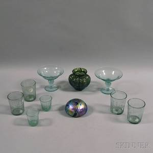 Eight Pieces of Etched Steigeltype Glass and Two Pieces of Art Glass