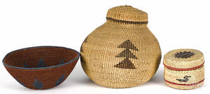 Three Native American Indian baskets 20th c