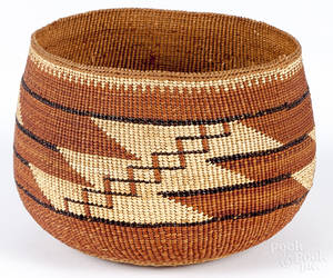 Northwest Coast coiled basketry bowl early 20th c