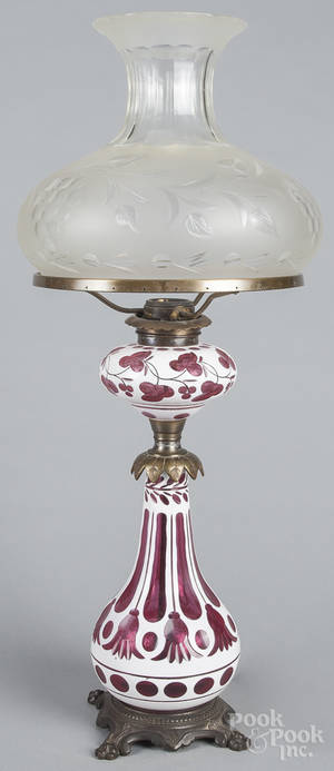 White opalescent and cranberry cut glass lamp
