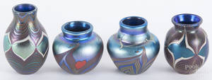 Four Lundberg Studio miniature art glass vases
