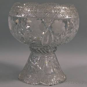 Cut Glass Punch Bowl with Stand