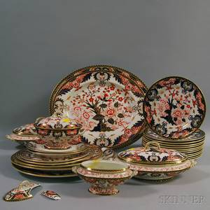 Royal Crown Derby Porcelain Imari Porcelain Partial Dinner Service