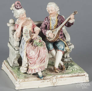 German porcelain courting scene figural group
