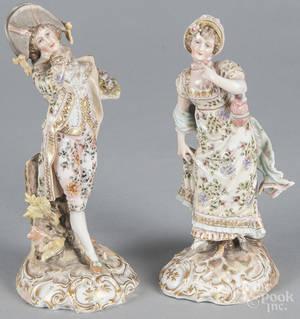 Pair of German Volkstedt porcelain figures