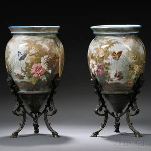 Pair of Handpainted Pottery Vases on Bronze Stands