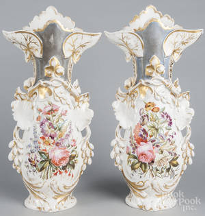 Large pair of old Paris porcelain floral vases