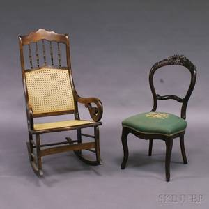 Victorian Caned Armed Rocker and Rococo Revival Side Chair