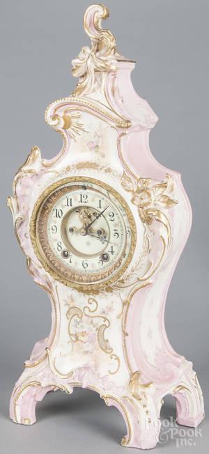 Ansonia Royal Bonn porcelain mantel clock