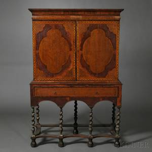 William and Marystyle Marquetry Cabinetonstand