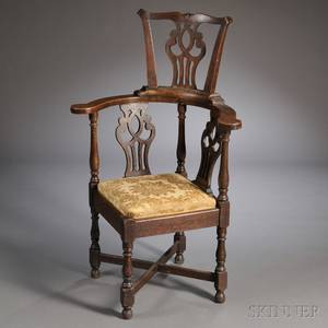 George IIIstyle Oak Highback Corner Armchair