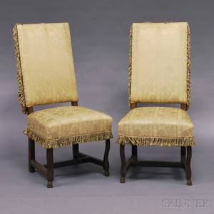 Pair of Continental Upholstered Walnut Side Chairs