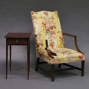 Hepplewhite Onedrawer Cherry Stand and Federalstyle Mahogany Lolling Chair