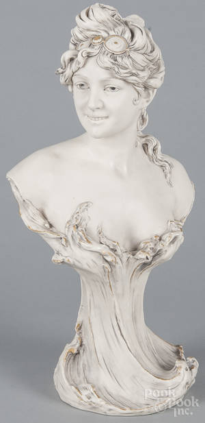 Royal Dux porcelain bust of a young woman