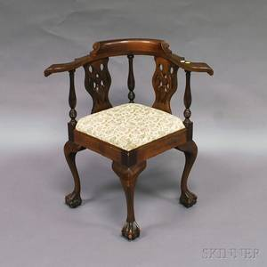 Chippendalestyle Mahogany Corner Chair