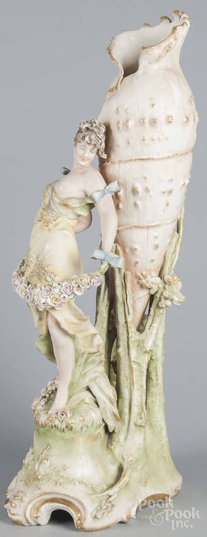 Large Amphora art noveau porcelain maiden vase