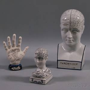 Two Phrenology Heads and a Palmistry Hand