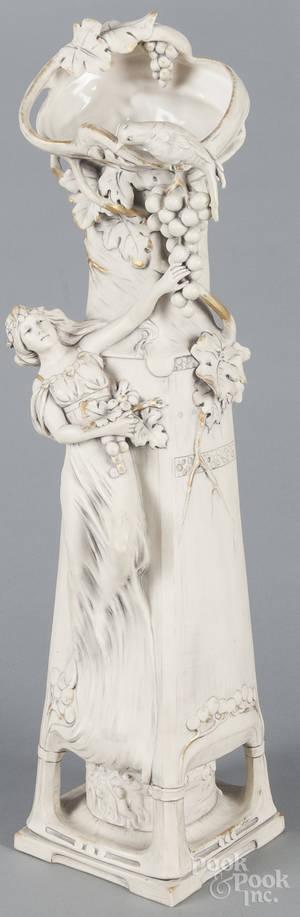 Large Royal Dux art noveau porcelain figural vase