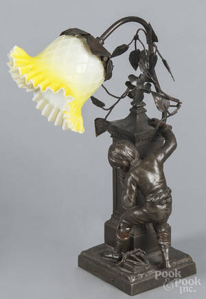 French figural spelter table lamp