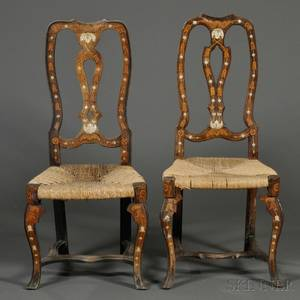 Two Italian Rococo Inlaid Walnut Side Chairs