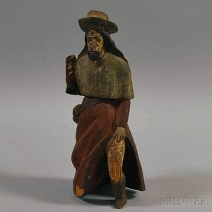 Carved Wood Figure of a Man