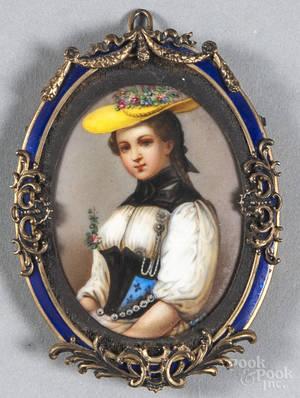 Miniature portrait on porcelain